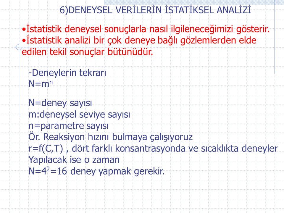 6)DENEYSEL VERİLERİN İSTATİKSEL ANALİZİ İstatistik deneysel sonuçlarla nasıl ilgileneceğimizi gösterir.