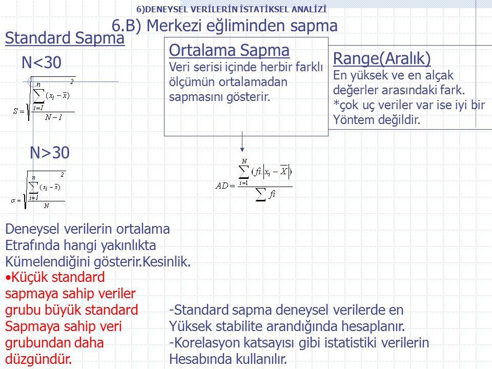 6.B) Merkezi eğliminden sapma Standard Sapma Deneysel verilerin ortalama Etrafında hangi yakınlıkta Kümelendiğini gösterir.Kesinlik.
