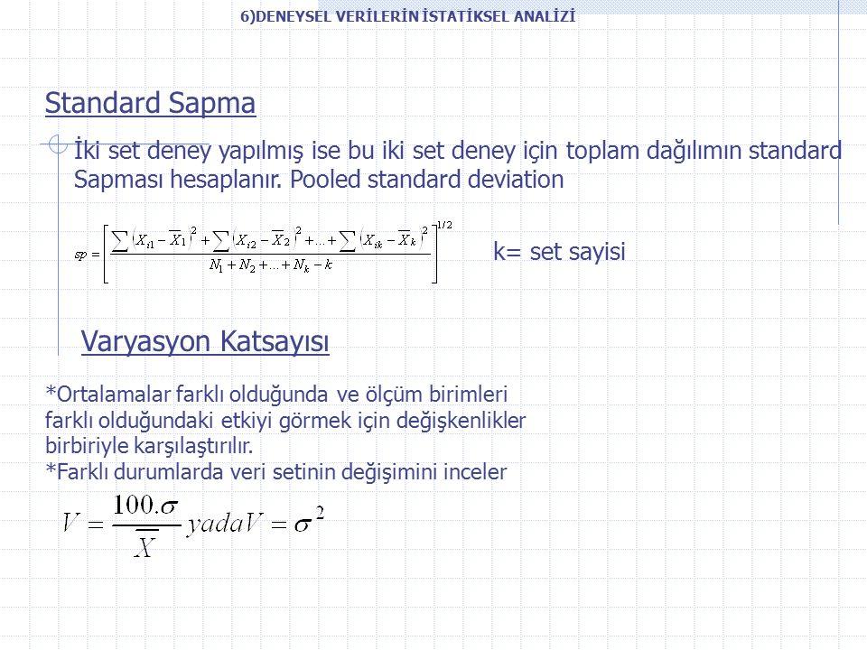 Standard Sapma İki set deney yapılmış ise bu iki set deney için toplam dağılımın standard Sapması hesaplanır.