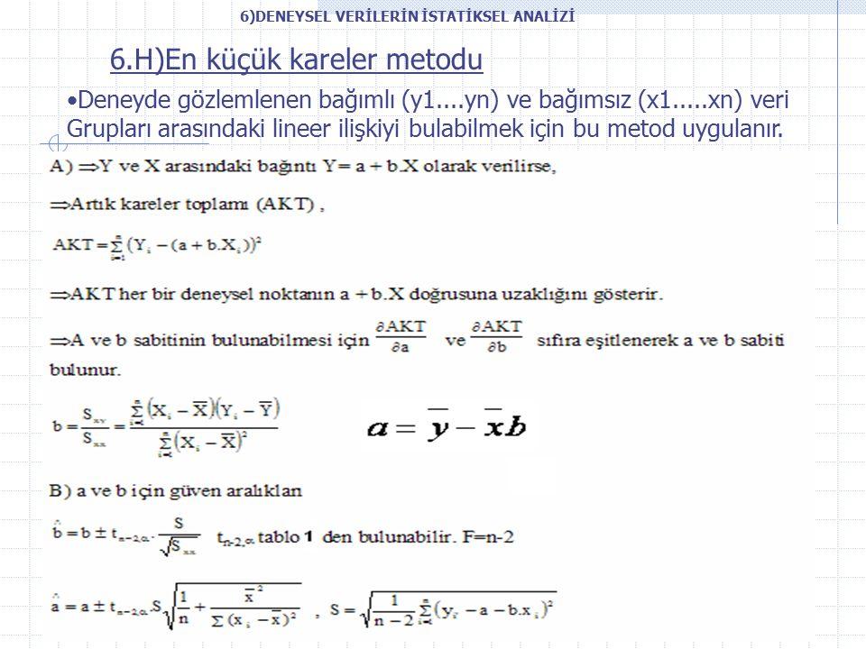 6.H)En küçük kareler metodu Deneyde gözlemlenen bağımlı (y1....yn) ve bağımsız (x1.....xn) veri Grupları arasındaki lineer ilişkiyi bulabilmek için bu metod uygulanır.