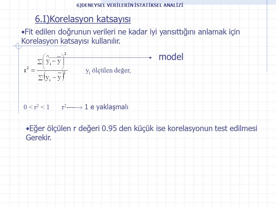 6.I)Korelasyon katsayısı Fit edilen doğrunun verileri ne kadar iyi yansıttığını anlamak için Korelasyon katsayısı kullanılır.