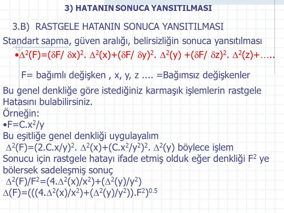 3) HATANIN SONUCA YANSITILMASI  2 (F)=(  F/  x) 2.