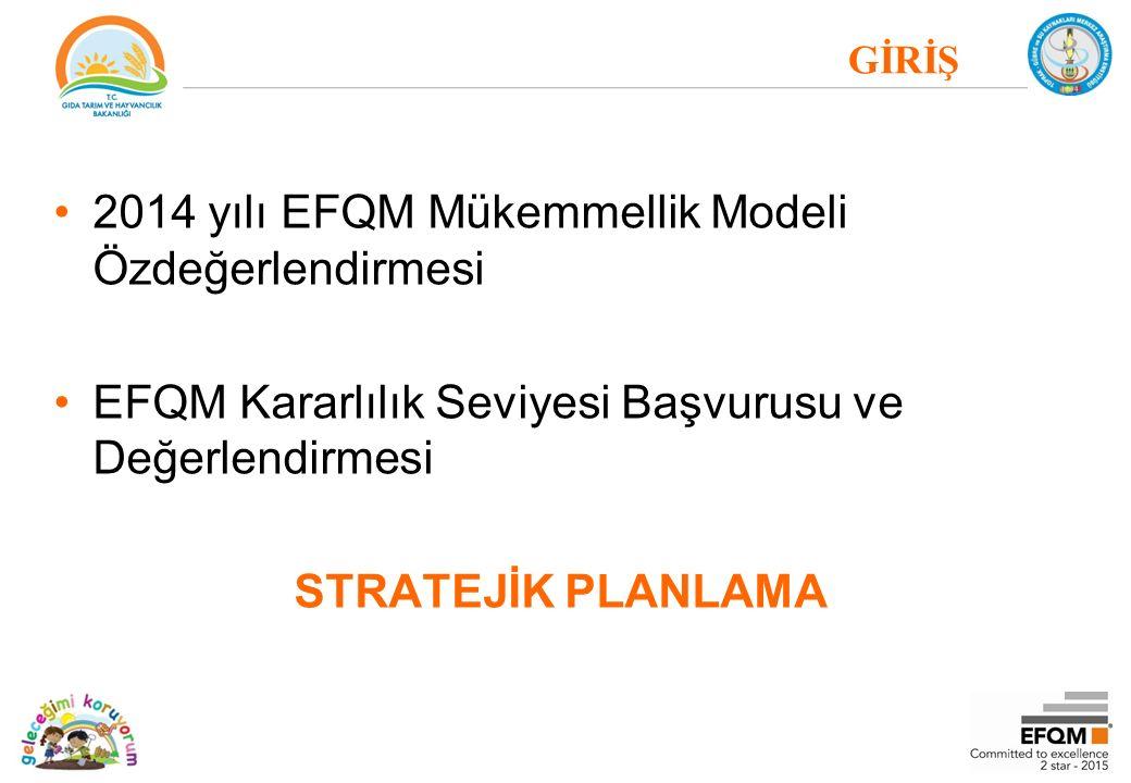 GİRİŞ 2014 yılı EFQM Mükemmellik Modeli Özdeğerlendirmesi EFQM Kararlılık Seviyesi Başvurusu ve Değerlendirmesi STRATEJİK PLANLAMA
