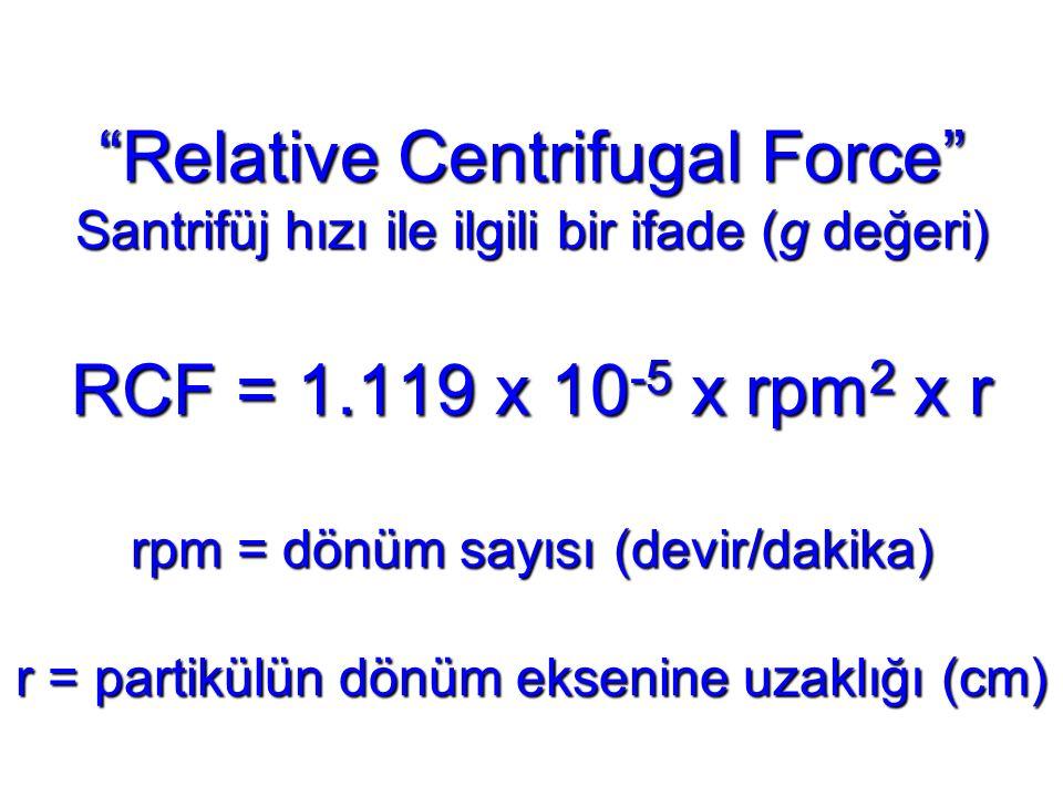 """""""Relative Centrifugal Force"""" Santrifüj hızı ile ilgili bir ifade (g değeri) RCF = 1.119 x 10 -5 x rpm 2 x r rpm = dönüm sayısı (devir/dakika) r = part"""
