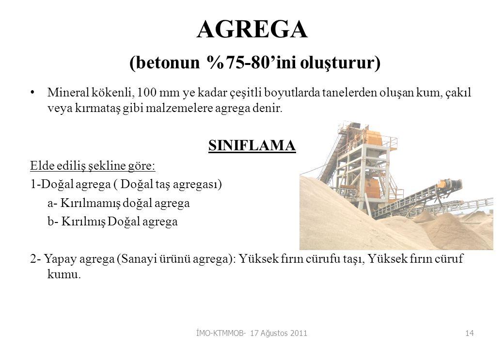 AGREGA (betonun %75-80'ini oluşturur) Mineral kökenli, 100 mm ye kadar çeşitli boyutlarda tanelerden oluşan kum, çakıl veya kırmataş gibi malzemelere agrega denir.