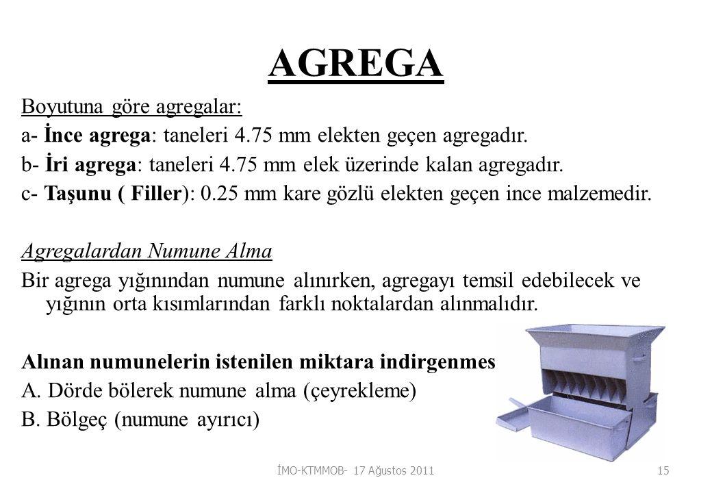 AGREGA Boyutuna göre agregalar: a- İnce agrega: taneleri 4.75 mm elekten geçen agregadır.