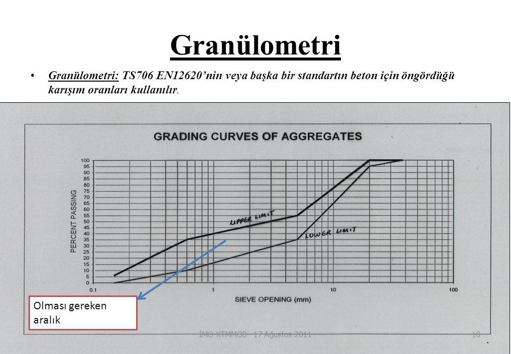 Granülometri Granülometri: TS706 EN12620'nin veya başka bir standartın beton için öngördüğü karışım oranları kullanılır.
