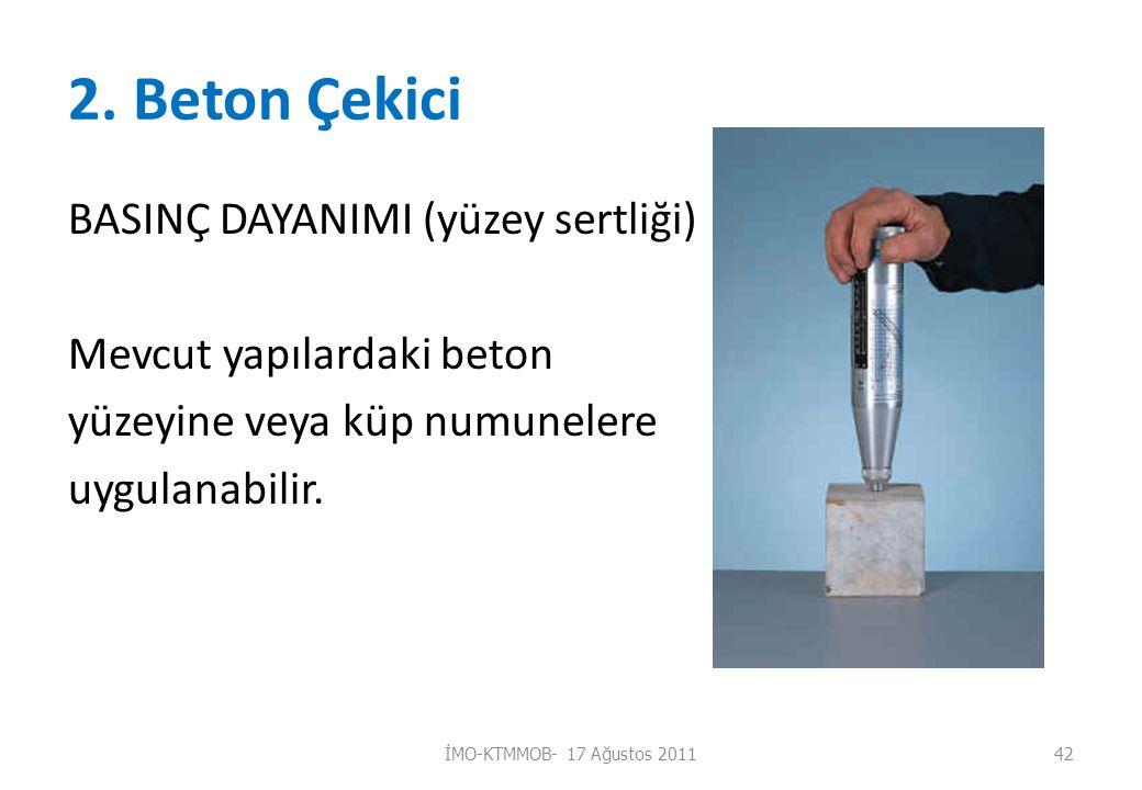 2. Beton Çekici BASINÇ DAYANIMI (yüzey sertliği) Mevcut yapılardaki beton yüzeyine veya küp numunelere uygulanabilir. İMO-KTMMOB- 17 Ağustos 201142