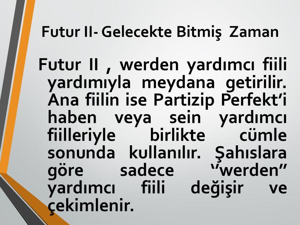 Futur II- Gelecekte Bitmiş Zaman Futur II, werden yardımcı fiili yardımıyla meydana getirilir. Ana fiilin ise Partizip Perfekt'i haben veya sein yardı