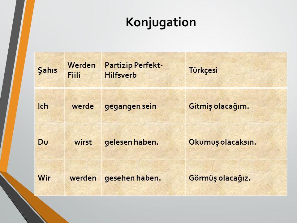Konjugation Şahıs Werden Fiili Partizip Perfekt- Hilfsverb Türkçesi Ichwerdegegangen seinGitmiş olacağım. Duwirstgelesen haben.Okumuş olacaksın. Wirwe