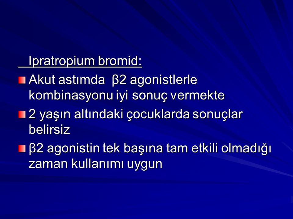 Ipratropium bromid: Ipratropium bromid: Akut astımda β2 agonistlerle kombinasyonu iyi sonuç vermekte 2 yaşın altındaki çocuklarda sonuçlar belirsiz β2 agonistin tek başına tam etkili olmadığı zaman kullanımı uygun