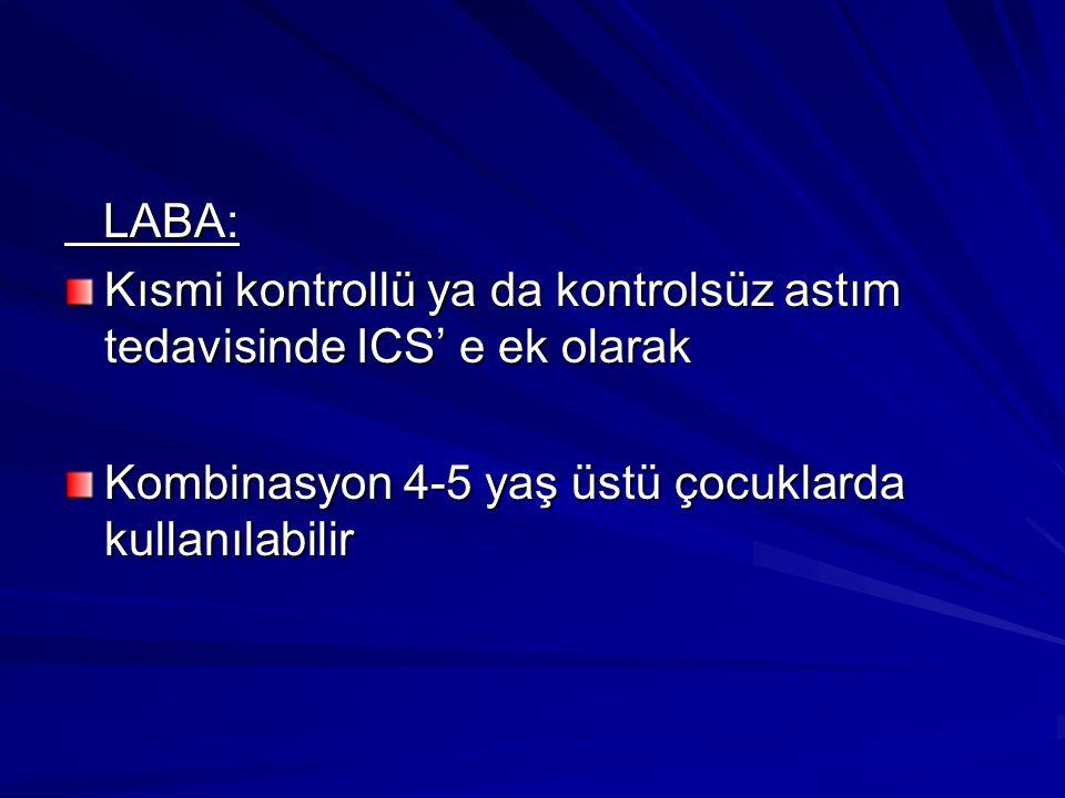 LABA: LABA: Kısmi kontrollü ya da kontrolsüz astım tedavisinde ICS' e ek olarak Kombinasyon 4-5 yaş üstü çocuklarda kullanılabilir
