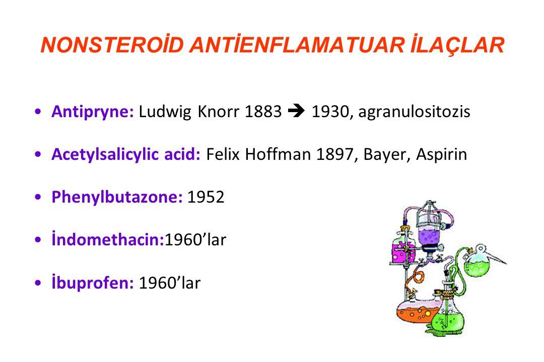 Kimyasal grupİlaç Salisilik asit deriveleri Aspirin, Sodyum salisilat, Salsalat, Sulfasalazin Para-aminofenol Asetaminofen Propionik asit deriveleri Ibuprofen, Naproksen, Fenoprofen Asetik asit deriveleri Diclofenac, İndometazin, Tolmetin Enolik asit deriveleri Pirazolonlar (Fenilbutazon, Dipiron) Oksikamlar (Piroksikam, Meloksikam) Fenamik asit deriveleri Mefenamik asit, Meklofenamik asit Selektif COX-2 inh.