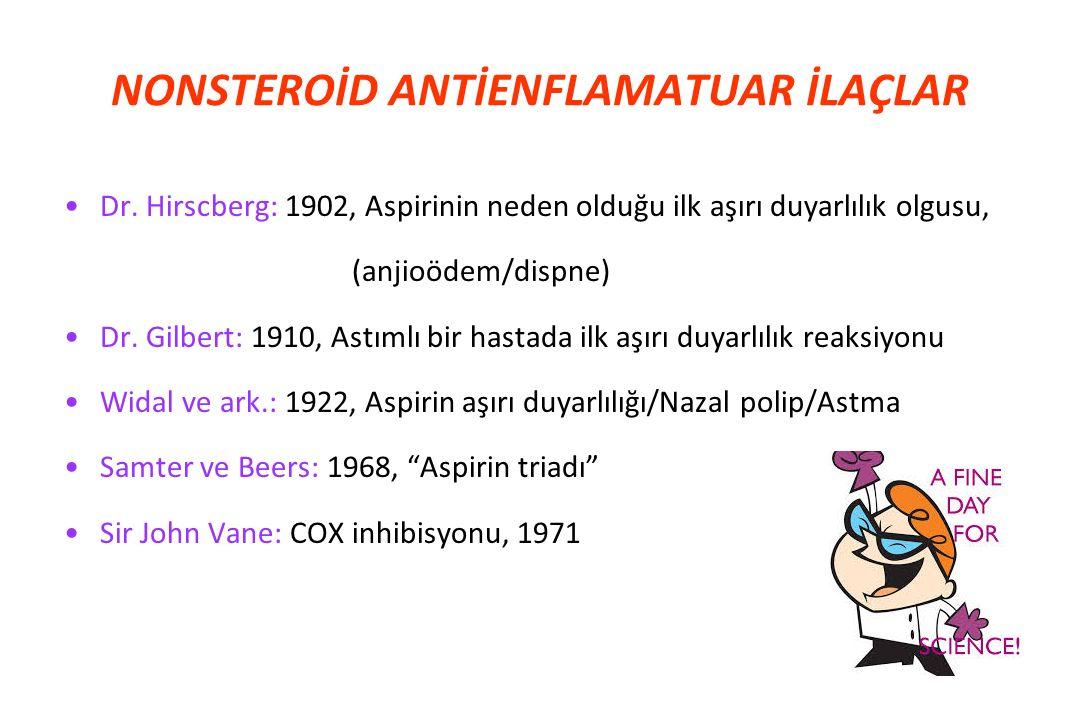 Dr. Hirscberg: 1902, Aspirinin neden olduğu ilk aşırı duyarlılık olgusu, (anjioödem/dispne) Dr. Gilbert: 1910, Astımlı bir hastada ilk aşırı duyarlılı