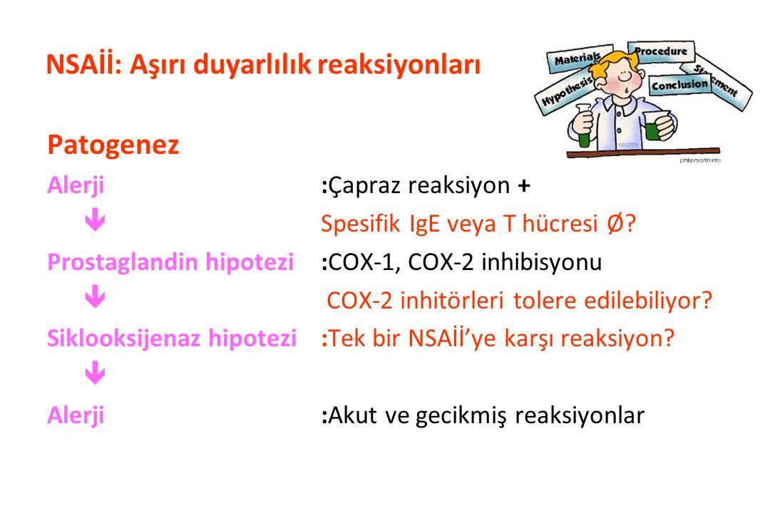 NSAİİ'ler ile Tetiklenen Ürtiker/Anjioödem (NIUA) Farklı kimyasal yapıdaki en az 2 NSAİİ'ye karşı reaksiyon Altta yatan risk faktörü (hastalık) :Yok Belirti/bulgu :Ürtiker / anjioödem Çapraz reaksiyon :Var İlk karşılaşmada reaksiyon :Evet Aşırı duyarlılığın mekanizması :Bilinmiyor Olasılıkla COX-1 inhibisyonu
