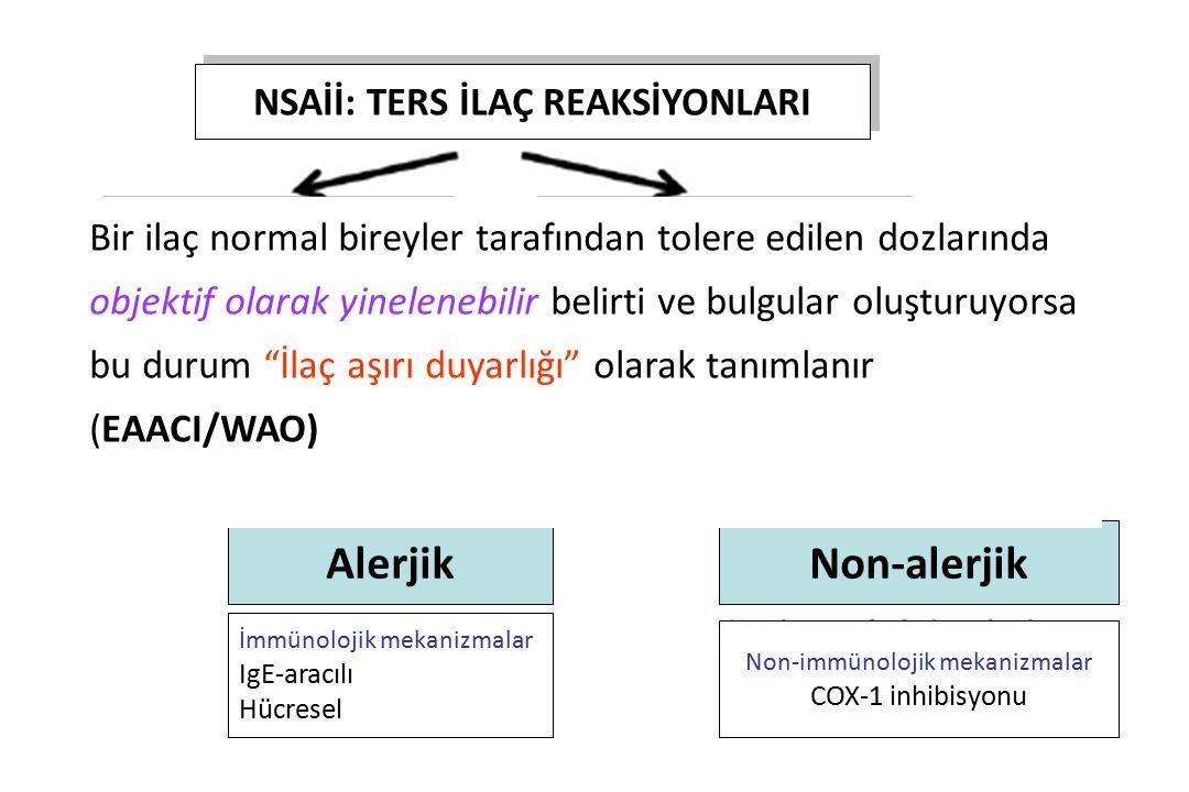 NSAİİ: TERS İLAÇ REAKSİYONLARI TİP A TİP B Sık, öngörülebilir, normal kişiler Karın ağrısı (%10-20)(gastrit) Renal toksisite Kanama (deri, GİS, GÜS) A