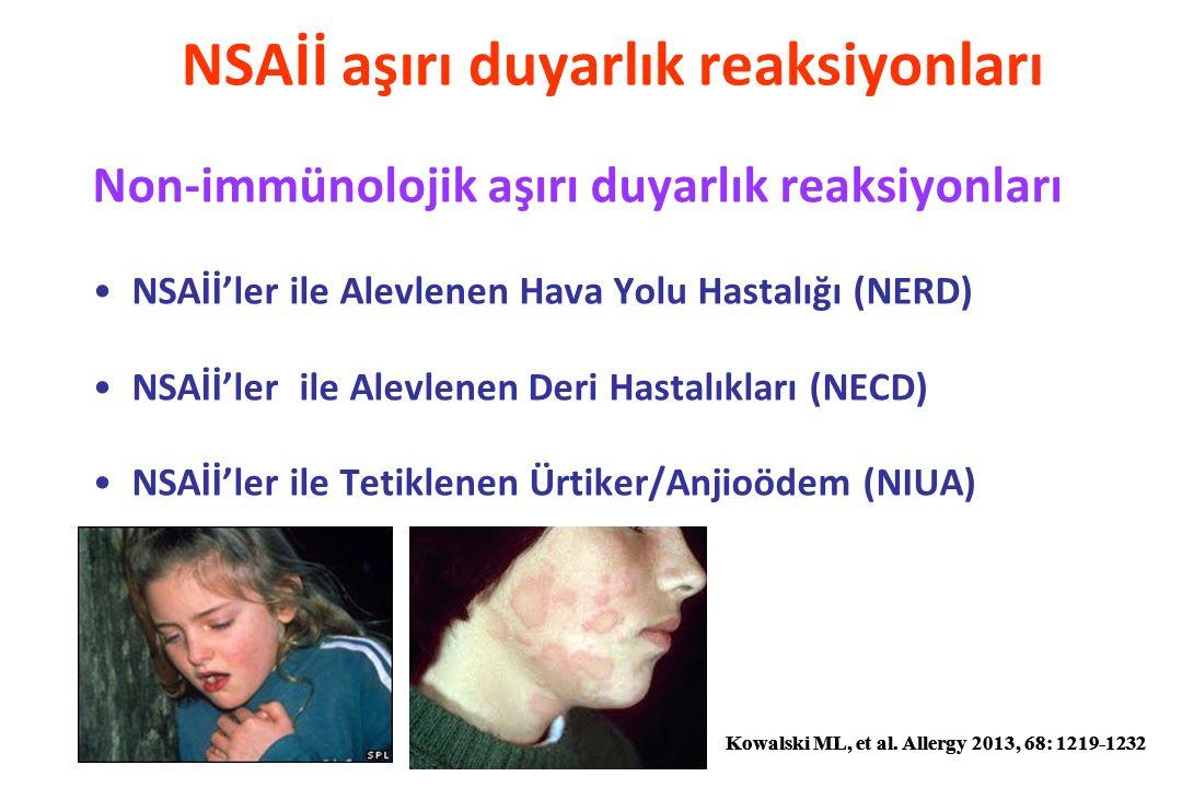 NSAİİ aşırı duyarlılık reaksiyonları: Tanı IN VIVO TESTLER Cilt testleri: Prick, IDT, yama testi Provokasyon testleri: Altın standard IN VITRO TESTLER –Periferik eozinofili –Nazal-bronşiyal lavajda eozinofili –Biyopsi örneklerinde eozinofilik infiltrasyon –SFT –Sinüs CT:Sinüzit %96.2 Polip: %70.8 –BAT –LAT –sIgE