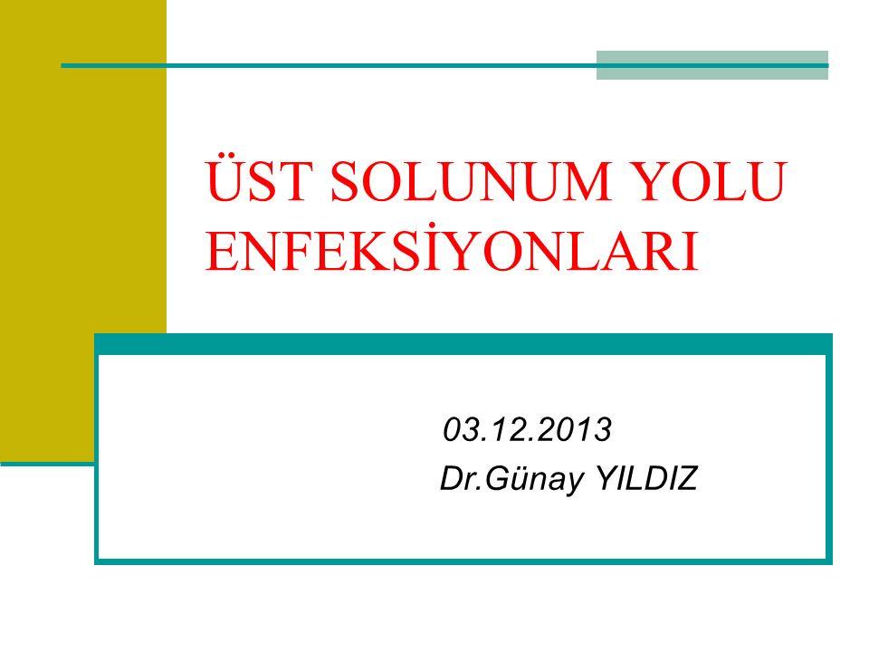 ÜST SOLUNUM YOLU ENFEKSİYONLARI 03.12.2013 Dr.Günay YILDIZ