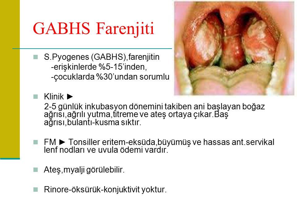 GABHS Farenjiti S.Pyogenes (GABHS),farenjitin -erişkinlerde %5-15'inden, -çocuklarda %30'undan sorumlu Klinik ► 2-5 günlük inkubasyon dönemini takiben ani başlayan boğaz ağrısı,ağrılı yutma,titreme ve ateş ortaya çıkar.Baş ağrısı,bulantı-kusma sıktır.