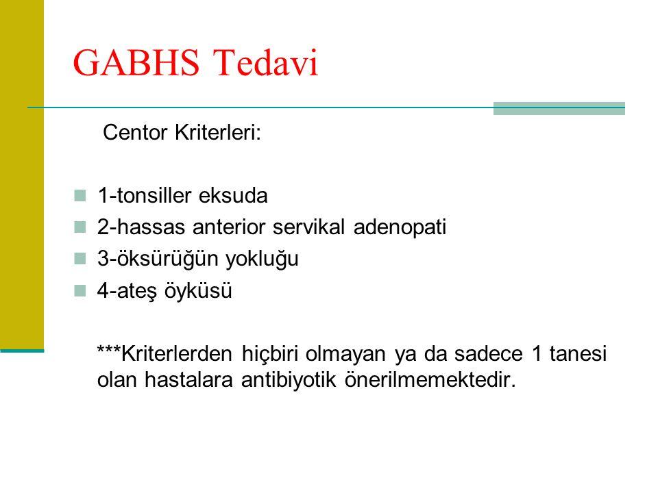GABHS Tedavi Centor Kriterleri: 1-tonsiller eksuda 2-hassas anterior servikal adenopati 3-öksürüğün yokluğu 4-ateş öyküsü ***Kriterlerden hiçbiri olmayan ya da sadece 1 tanesi olan hastalara antibiyotik önerilmemektedir.
