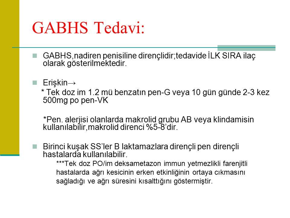 GABHS Tedavi: GABHS,nadiren penisiline dirençlidir;tedavide İLK SIRA ilaç olarak gösterilmektedir.