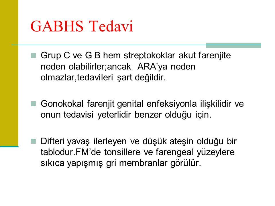 GABHS Tedavi Grup C ve G B hem streptokoklar akut farenjite neden olabilirler;ancak ARA'ya neden olmazlar,tedavileri şart değildir.