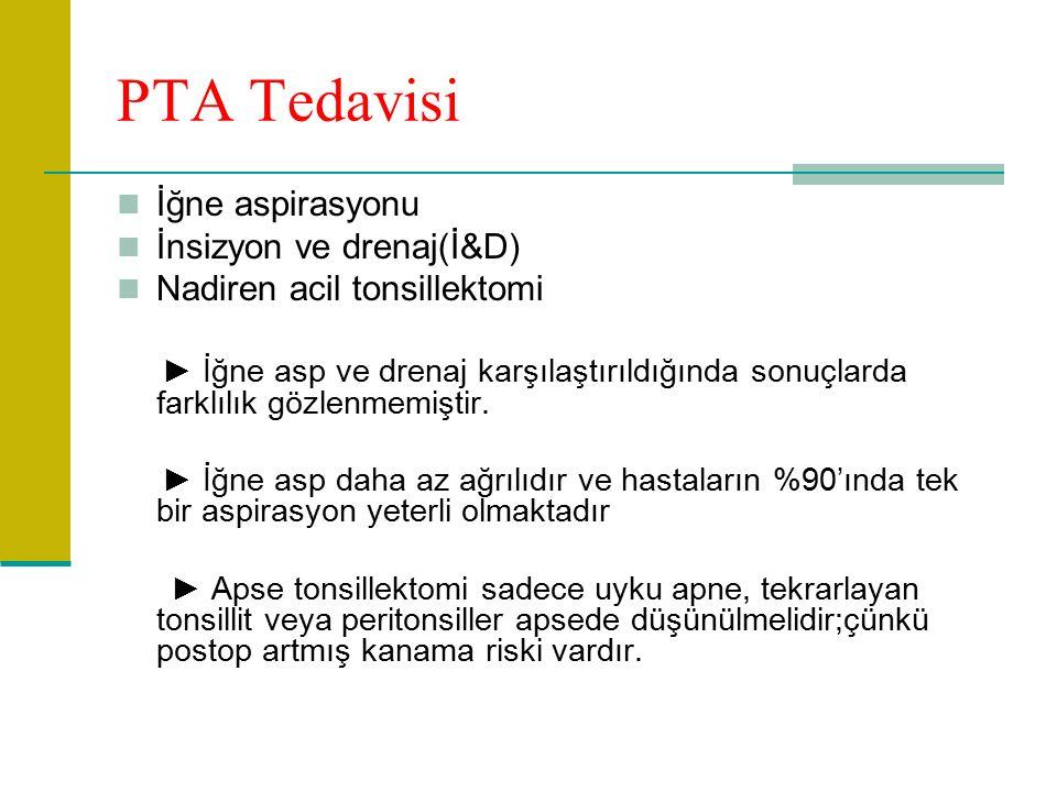 PTA Tedavisi İğne aspirasyonu İnsizyon ve drenaj(İ&D) Nadiren acil tonsillektomi ► İğne asp ve drenaj karşılaştırıldığında sonuçlarda farklılık gözlenmemiştir.