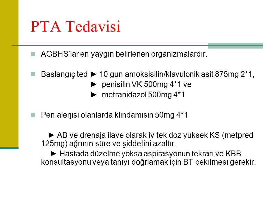 PTA Tedavisi AGBHS'lar en yaygın belirlenen organizmalardır.