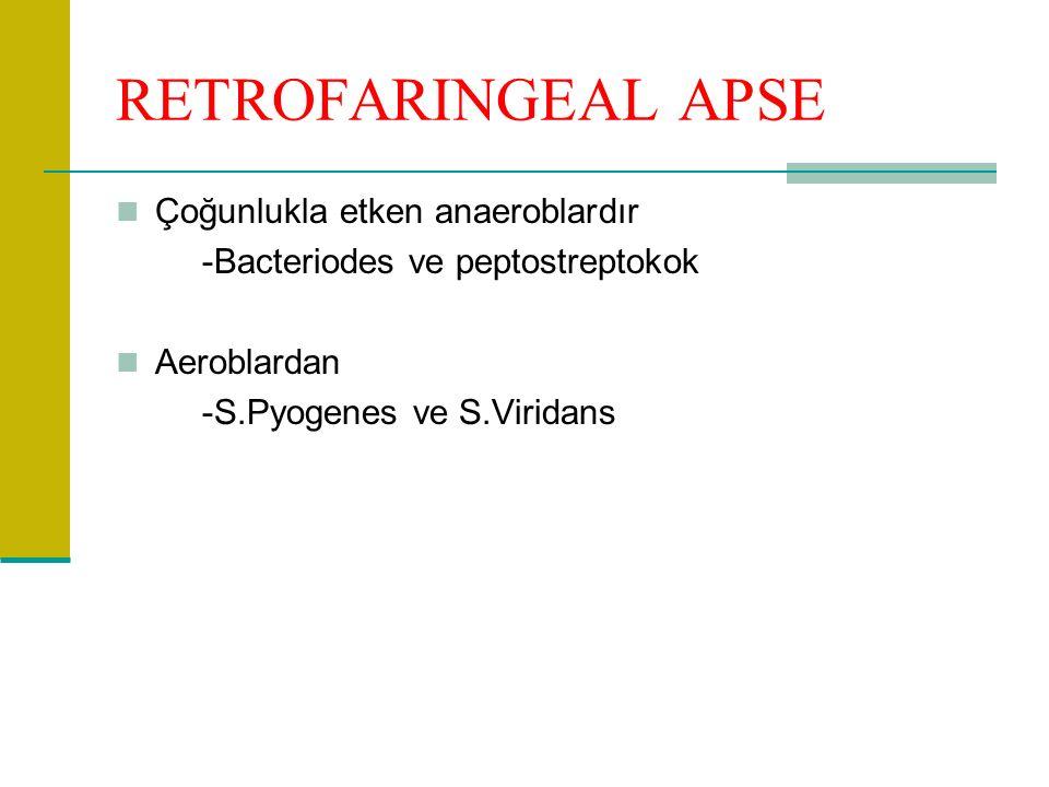 RETROFARINGEAL APSE Çoğunlukla etken anaeroblardır -Bacteriodes ve peptostreptokok Aeroblardan -S.Pyogenes ve S.Viridans