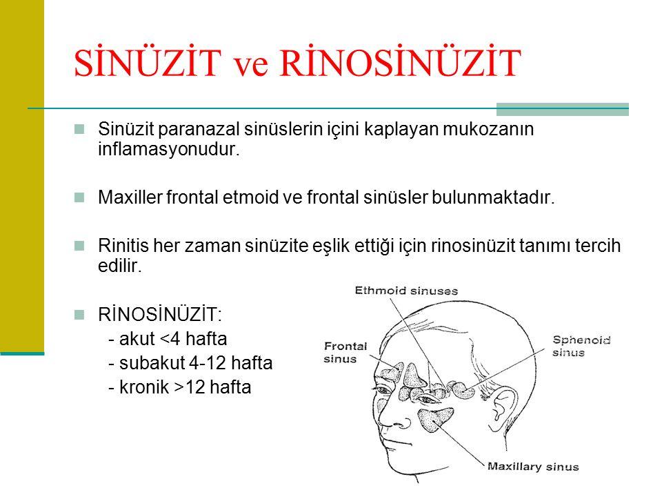 SİNÜZİT ve RİNOSİNÜZİT Sinüzit paranazal sinüslerin içini kaplayan mukozanın inflamasyonudur.