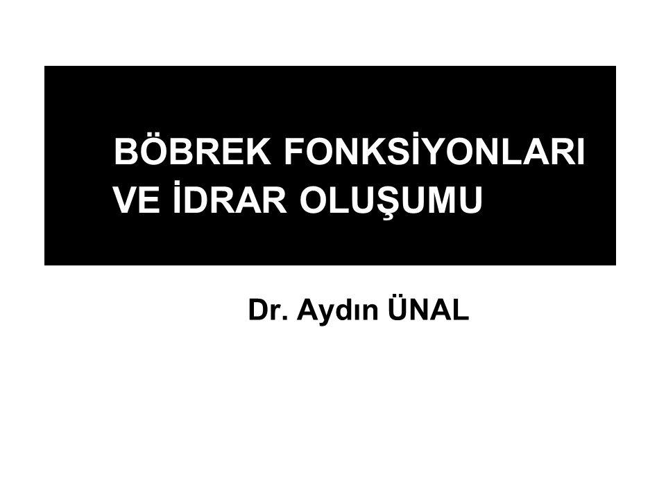 BÖBREK FONKSİYONLARI VE İDRAR OLUŞUMU Dr. Aydın ÜNAL