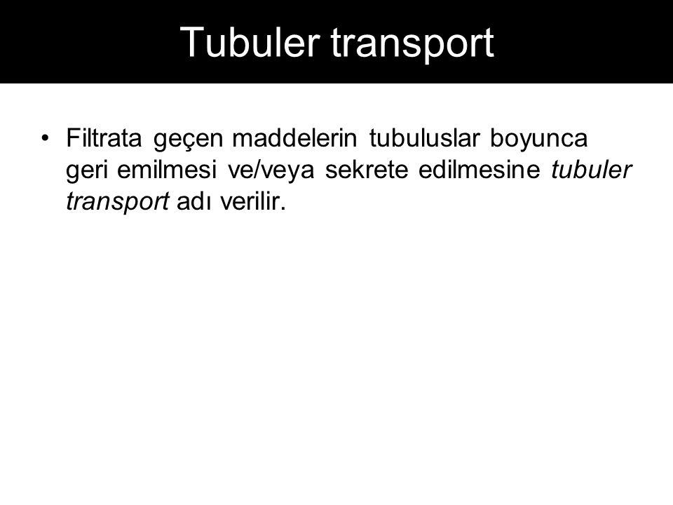 Tubuler transport Filtrata geçen maddelerin tubuluslar boyunca geri emilmesi ve/veya sekrete edilmesine tubuler transport adı verilir.