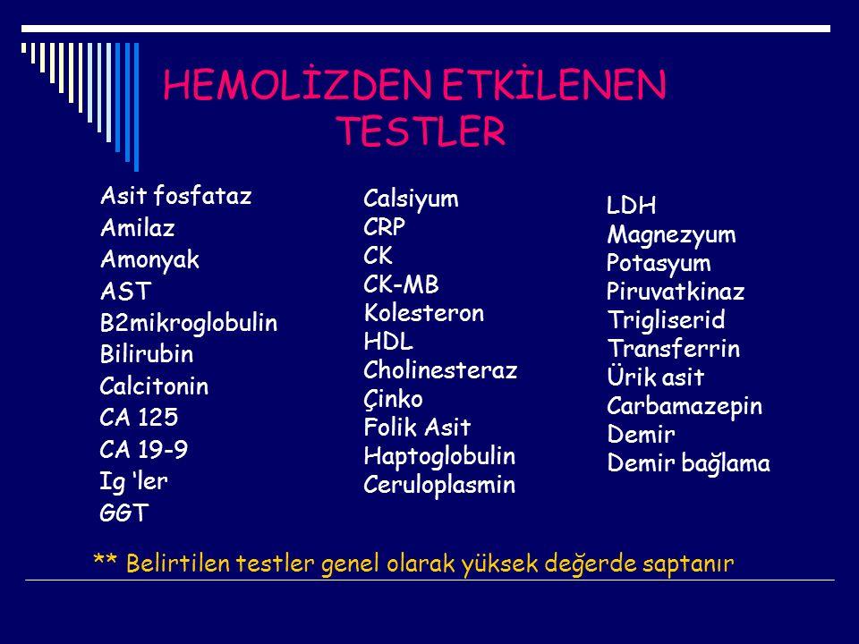 HEMOLİZDEN ETKİLENEN TESTLER Asit fosfataz Amilaz Amonyak AST B2mikroglobulin Bilirubin Calcitonin CA 125 CA 19-9 Ig 'ler GGT Calsiyum CRP CK CK-MB Ko