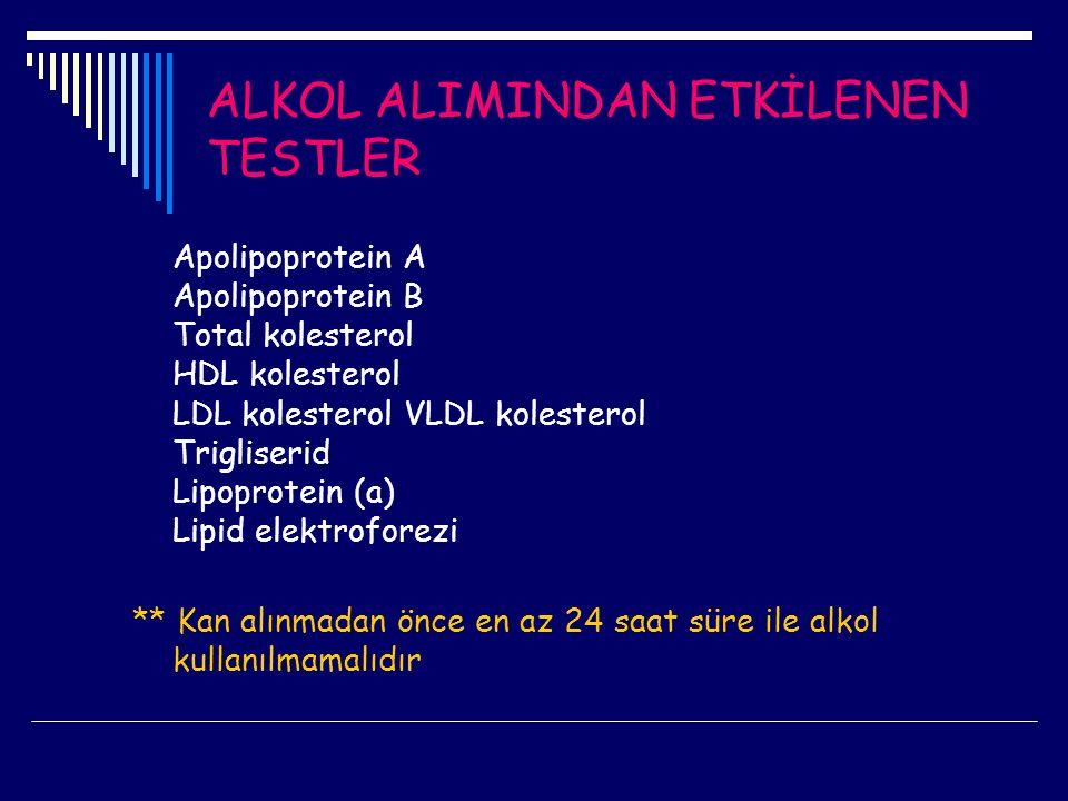 ALKOL ALIMINDAN ETKİLENEN TESTLER Apolipoprotein A Apolipoprotein B Total kolesterol HDL kolesterol LDL kolesterol VLDL kolesterol Trigliserid Lipopro