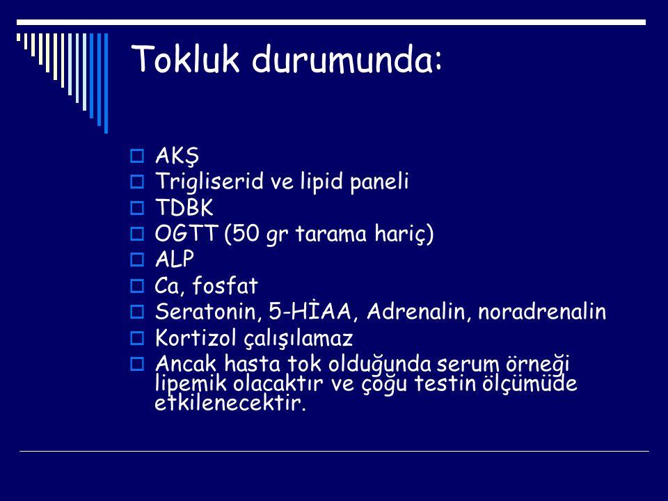 HEMOLİZDEN ETKİLENEN TESTLER Asit fosfataz Amilaz Amonyak AST B2mikroglobulin Bilirubin Calcitonin CA 125 CA 19-9 Ig 'ler GGT Calsiyum CRP CK CK-MB Kolesteron HDL Cholinesteraz Çinko Folik Asit Haptoglobulin Ceruloplasmin LDH Magnezyum Potasyum Piruvatkinaz Trigliserid Transferrin Ürik asit Carbamazepin Demir Demir bağlama ** Belirtilen testler genel olarak yüksek değerde saptanır