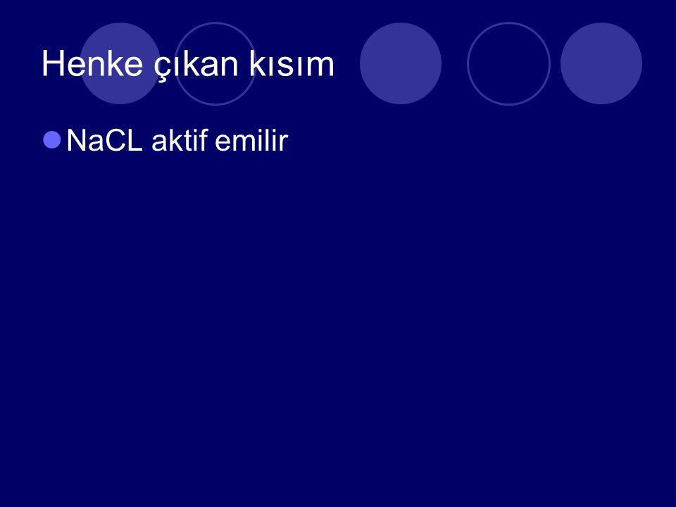 Henke çıkan kısım NaCL aktif emilir