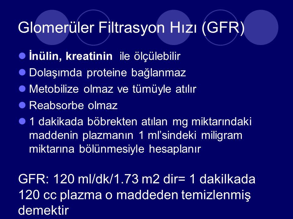 Glomerüler Filtrasyon Hızı (GFR) İnülin, kreatinin ile ölçülebilir Dolaşımda proteine bağlanmaz Metobilize olmaz ve tümüyle atılır Reabsorbe olmaz 1 dakikada böbrekten atılan mg miktarındaki maddenin plazmanın 1 ml'sindeki miligram miktarına bölünmesiyle hesaplanır GFR: 120 ml/dk/1.73 m2 dir= 1 dakilkada 120 cc plazma o maddeden temizlenmiş demektir