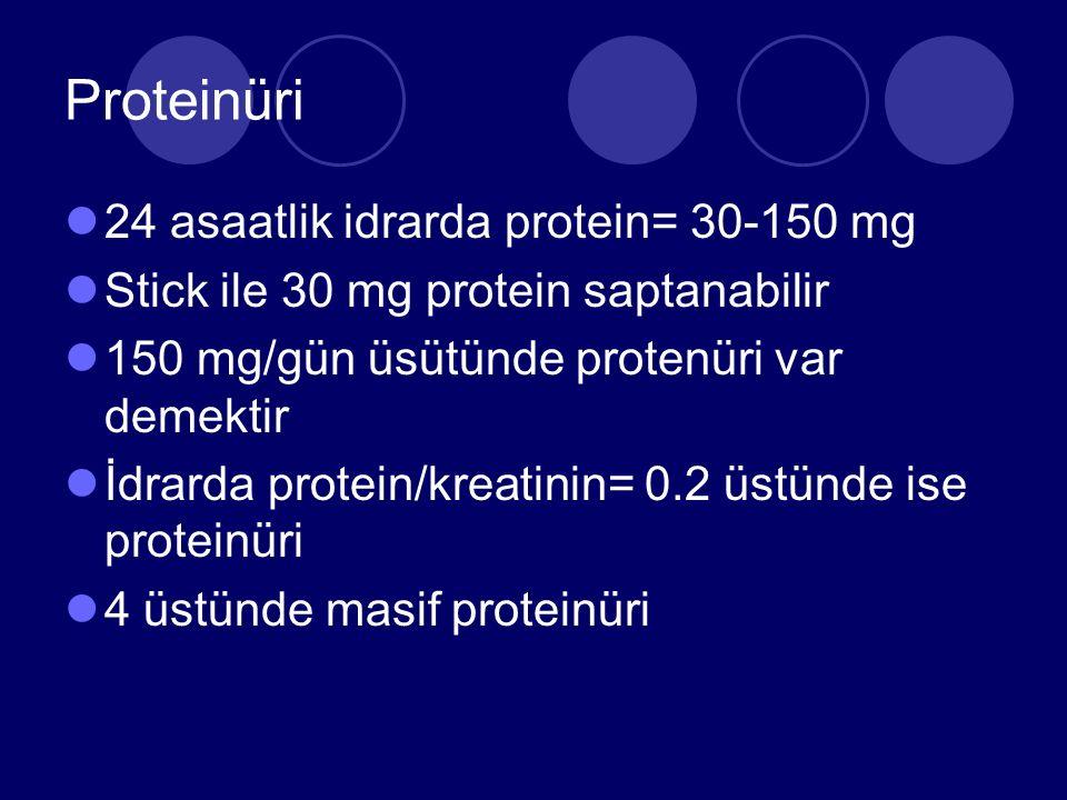 Proteinüri 24 asaatlik idrarda protein= 30-150 mg Stick ile 30 mg protein saptanabilir 150 mg/gün üsütünde protenüri var demektir İdrarda protein/kreatinin= 0.2 üstünde ise proteinüri 4 üstünde masif proteinüri