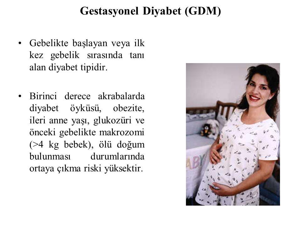Gestasyonel Diyabet (GDM) Gebelikte başlayan veya ilk kez gebelik sırasında tanı alan diyabet tipidir.