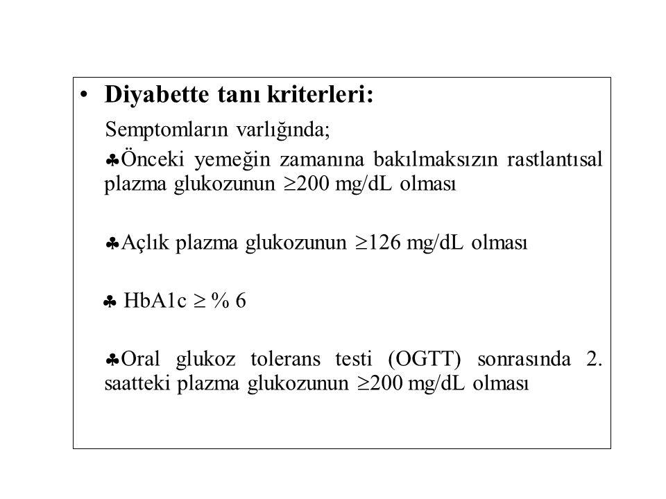 Diyabette tanı kriterleri: Semptomların varlığında;  Önceki yemeğin zamanına bakılmaksızın rastlantısal plazma glukozunun  200 mg/dL olması  Açlık plazma glukozunun  126 mg/dL olması  HbA1c  % 6  Oral glukoz tolerans testi (OGTT) sonrasında 2.