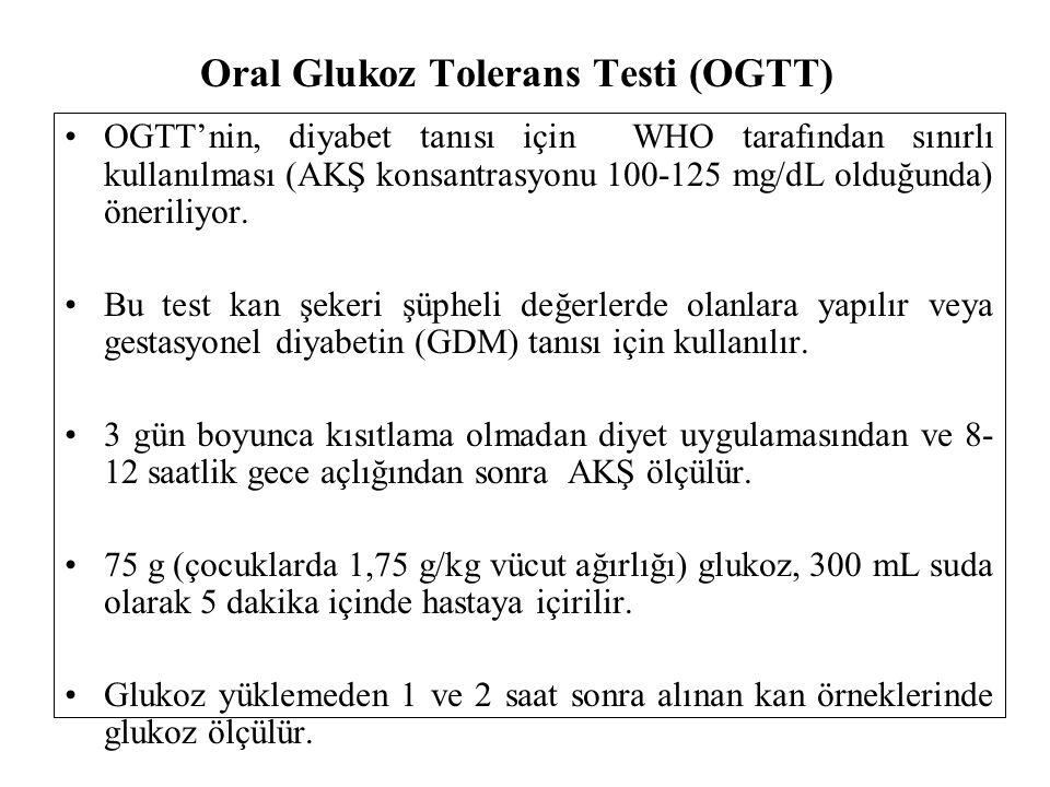 Oral Glukoz Tolerans Testi (OGTT) OGTT'nin, diyabet tanısı için WHO tarafından sınırlı kullanılması (AKŞ konsantrasyonu 100-125 mg/dL olduğunda) öneriliyor.