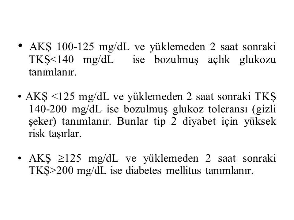 AKŞ 100-125 mg/dL ve yüklemeden 2 saat sonraki TKŞ<140 mg/dL ise bozulmuş açlık glukozu tanımlanır.