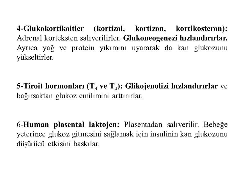 4-Glukokortikoitler (kortizol, kortizon, kortikosteron): Adrenal korteksten salıverilirler.