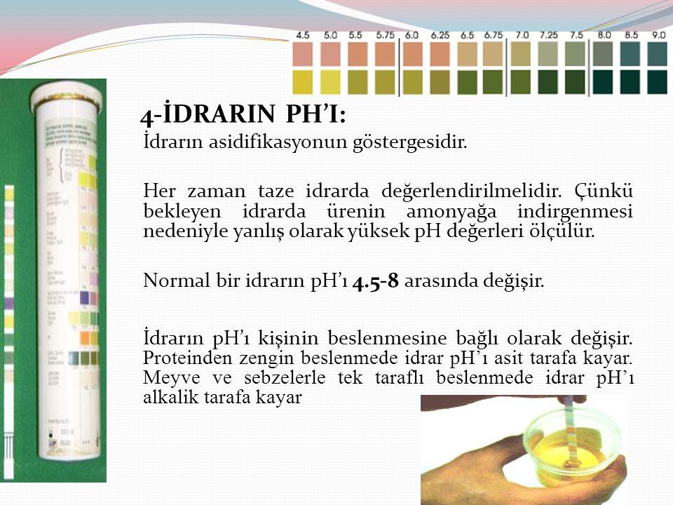 4-İDRARIN PH'I: İdrarın asidifikasyonun göstergesidir. Her zaman taze idrarda değerlendirilmelidir. Çünkü bekleyen idrarda ürenin amonyağa indirgenmes