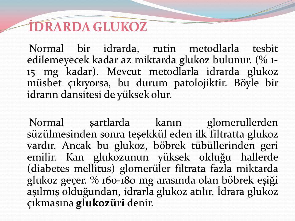 İDRARDA GLUKOZ Normal bir idrarda, rutin metodlarla tesbit edilemeyecek kadar az miktarda glukoz bulunur. (% 1- 15 mg kadar). Mevcut metodlarla idrard
