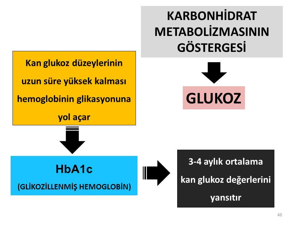 46 GLUKOZ KARBONHİDRAT METABOLİZMASININ GÖSTERGESİ HbA1c (GLİKOZİLLENMİŞ HEMOGLOBİN) Kan glukoz düzeylerinin uzun süre yüksek kalması hemoglobinin glikasyonuna yol açar 3-4 aylık ortalama kan glukoz değerlerini yansıtır