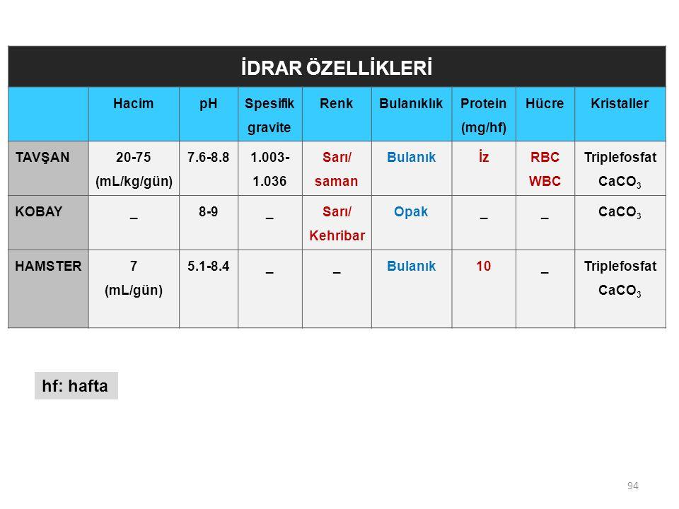 94 İDRAR ÖZELLİKLERİ HacimpH Spesifik gravite RenkBulanıklık Protein (mg/hf) HücreKristaller TAVŞAN 20-75 (mL/kg/gün) 7.6-8.8 1.003- 1.036 Sarı/ saman Bulanıkİz RBC WBC Triplefosfat CaCO 3 KOBAY_8-9_ Sarı/ Kehribar Opak__ CaCO 3 HAMSTER7 (mL/gün) 5.1-8.4__Bulanık10_Triplefosfat CaCO 3 hf: hafta