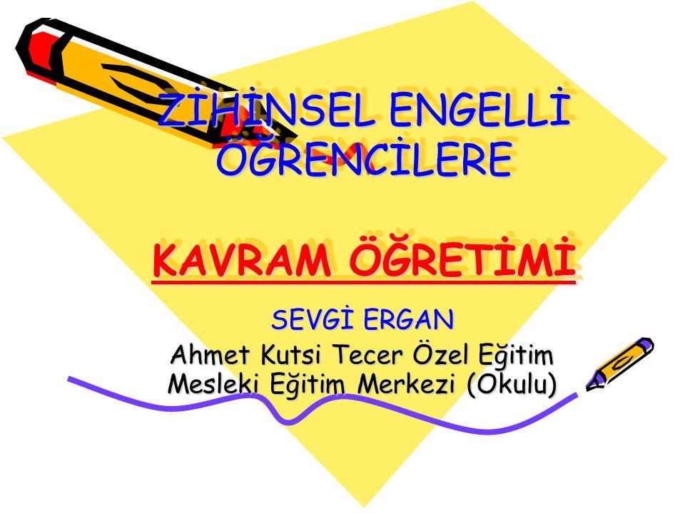 ZİHİNSEL ENGELLİ ÖĞRENCİLERE KAVRAM ÖĞRETİMİ SEVGİ ERGAN Ahmet Kutsi Tecer Özel Eğitim Mesleki Eğitim Merkezi (Okulu)