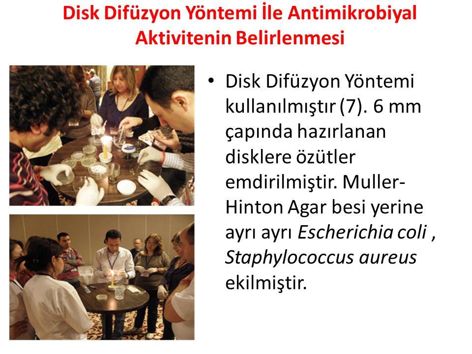 Disk Difüzyon Yöntemi İle Antimikrobiyal Aktivitenin Belirlenmesi Disk Difüzyon Yöntemi kullanılmıştır (7). 6 mm çapında hazırlanan disklere özütler e