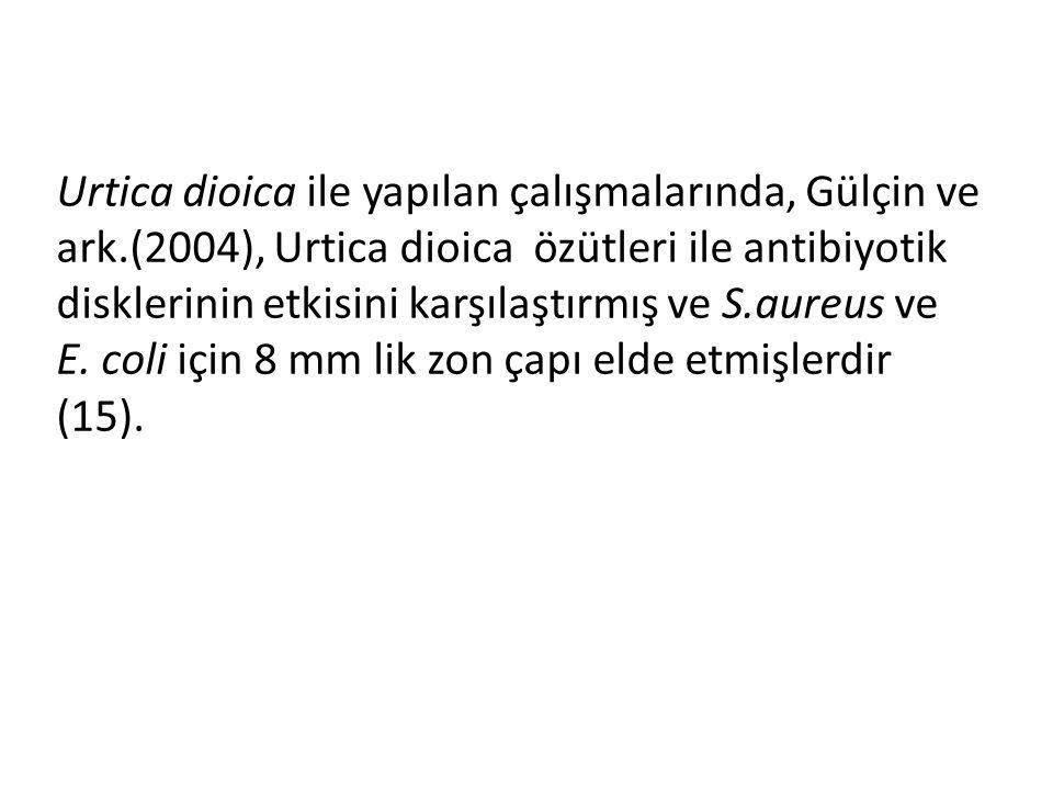 Urtica dioica ile yapılan çalışmalarında, Gülçin ve ark.(2004), Urtica dioica özütleri ile antibiyotik disklerinin etkisini karşılaştırmış ve S.aureus